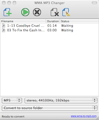 WMA MP3 Changer for Mac OS X